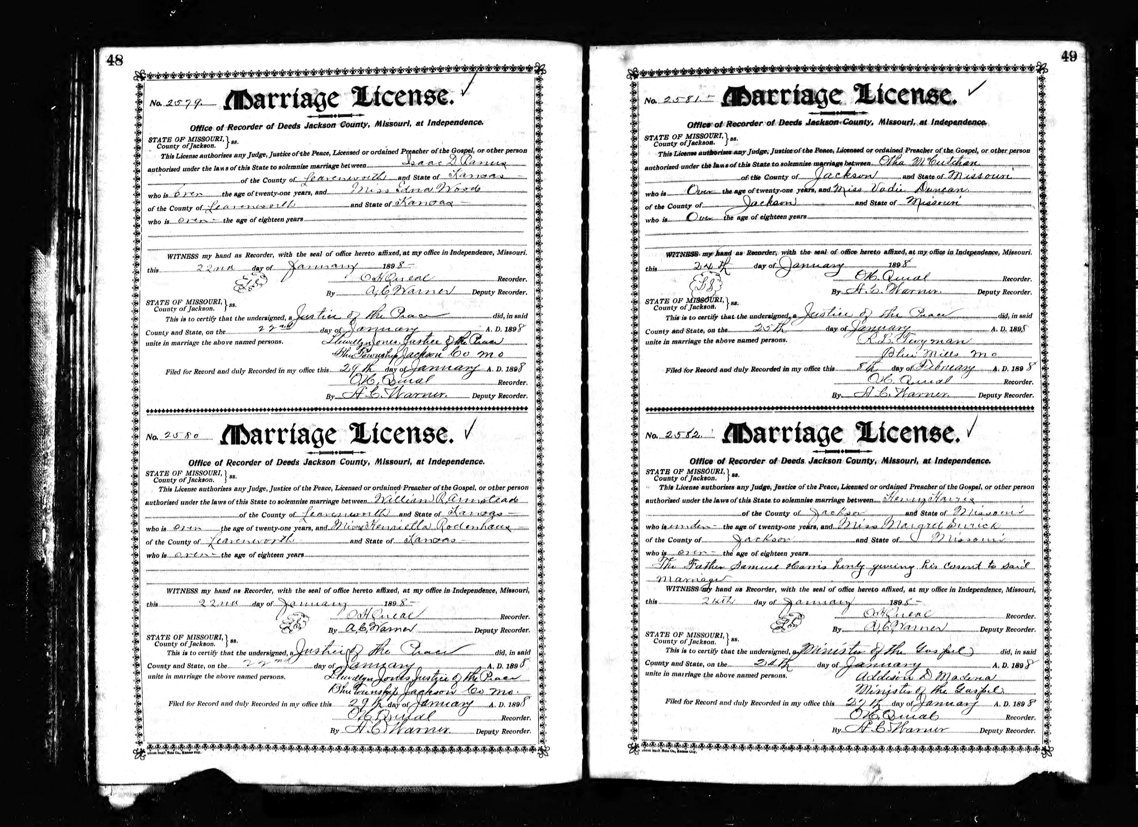 1007 lake avenue pueblo co 81004 date of marriage january 22 1898 jackson independence county missouri marriage certificate aiddatafo Choice Image